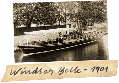 Old sepia photograph of the Windsor Belle